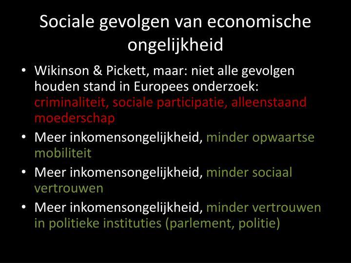 Sociale gevolgen van economische  ongelijkheid