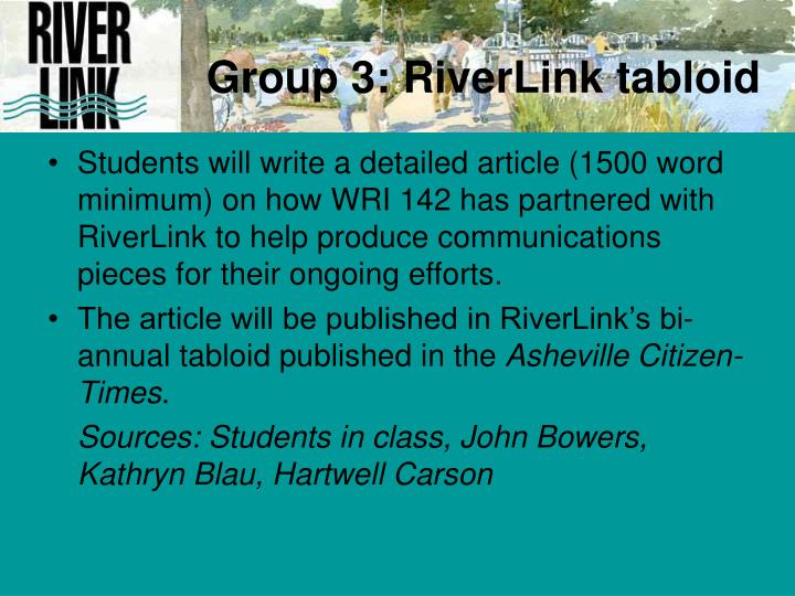 Group 3: RiverLink tabloid