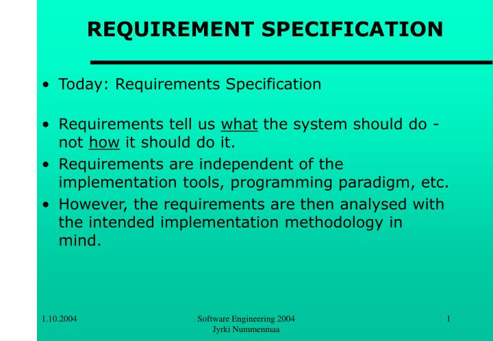 requirement specification n.