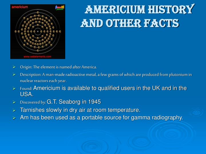 Americium history and other facts