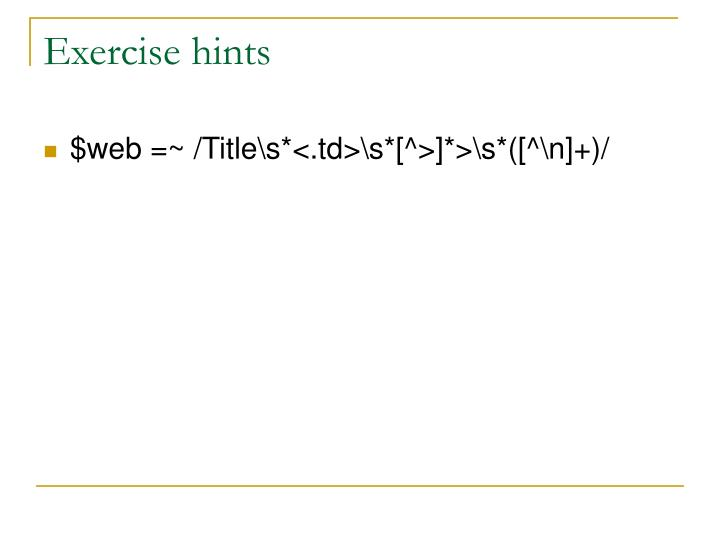 Exercise hints