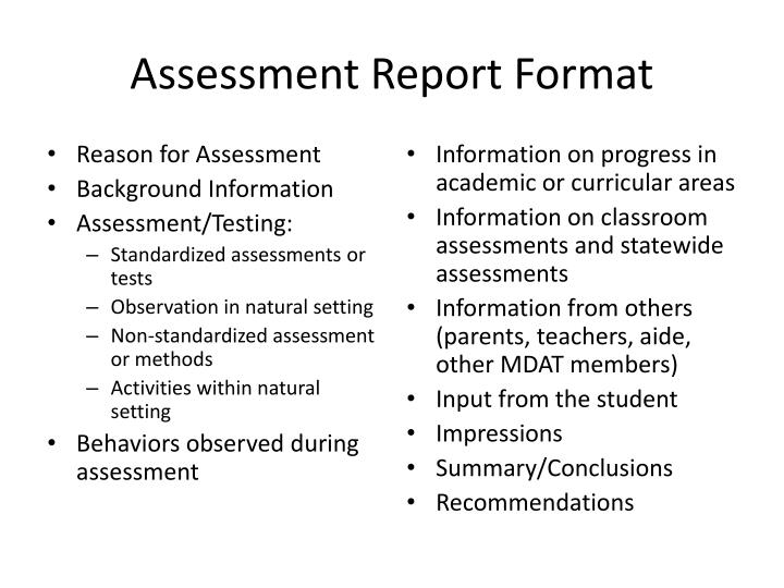 Assessment Report Format