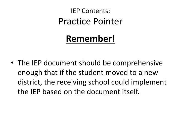 IEP Contents: