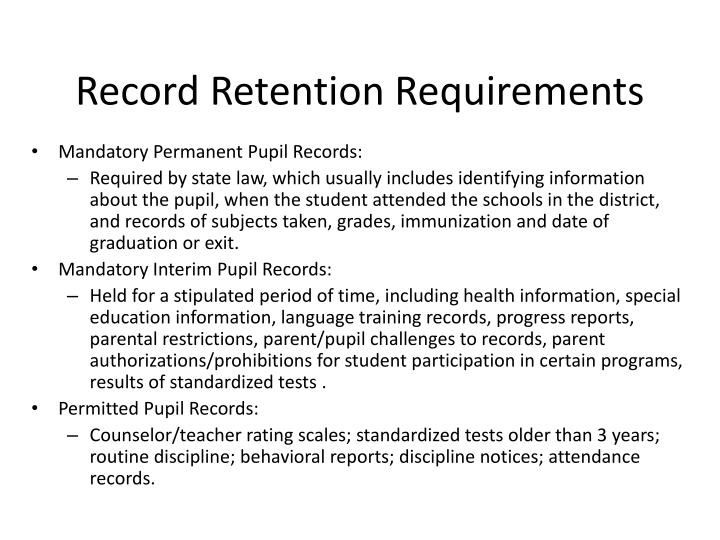 Record Retention Requirements