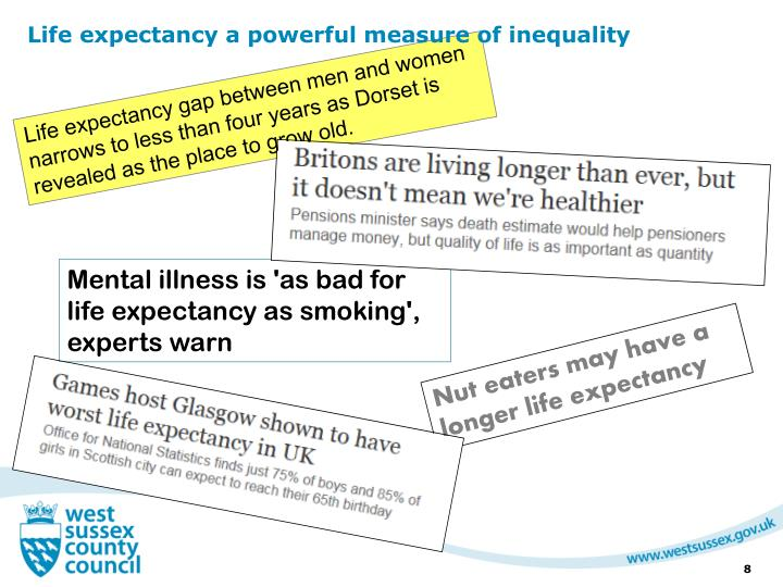 Life expectancy a powerful measure of inequality