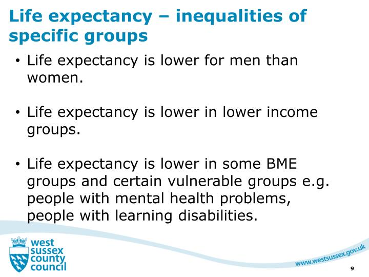 Life expectancy – inequalities of specific groups
