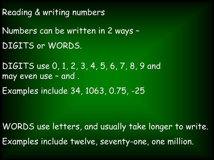 how to write number in words Use numbers expressed as words: a when the number begins a sentence, title, or heading  also i believe that you write out numbers if numbers are already written in the sentence so if you start a sentence with a number and you have another number you would write them out to keep the sentence flowing.