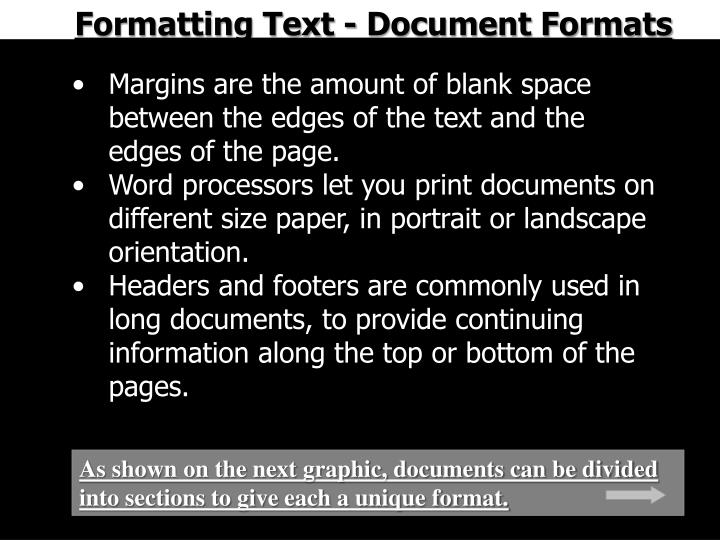 Formatting Text - Document Formats