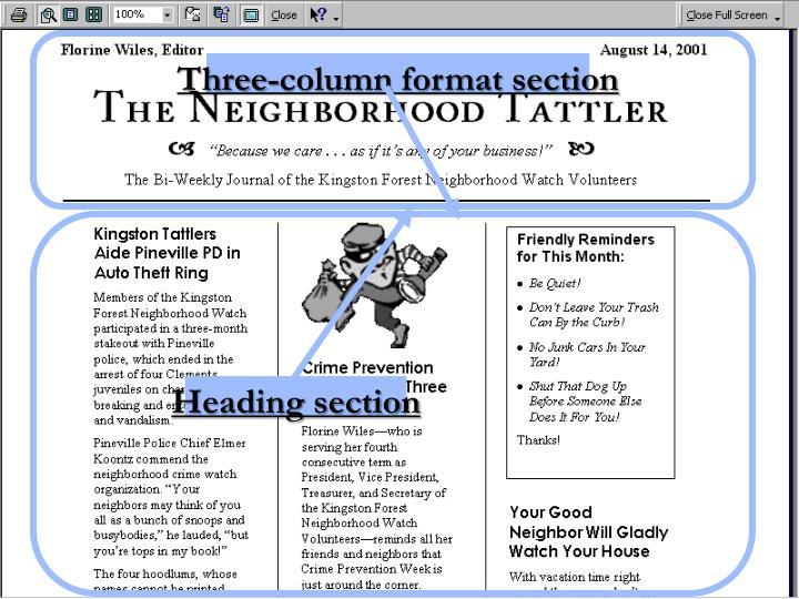 Three-column format section