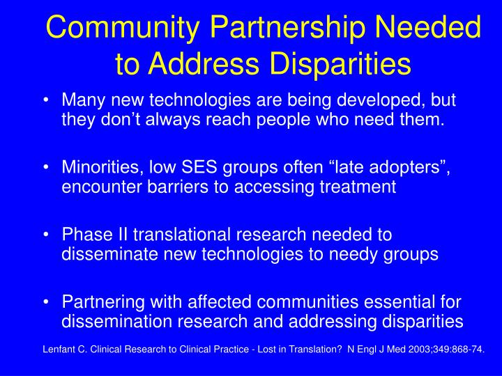 Community Partnership Needed to Address Disparities
