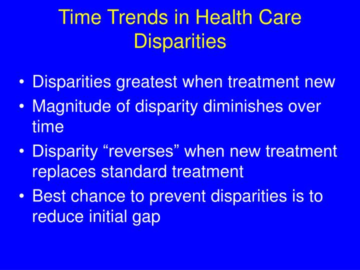 Time Trends in Health Care Disparities