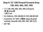 step 6 51 100 firewall forward drop 80 443 465 587 995