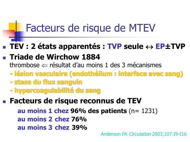 Facteurs de risque de MTEV