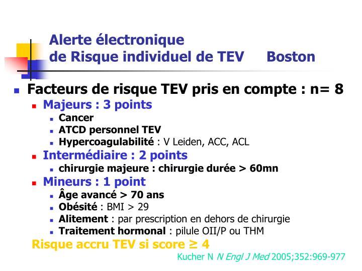 Facteurs de risque TEV pris en compte : n= 8