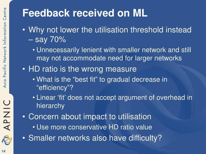 Feedback received on ML