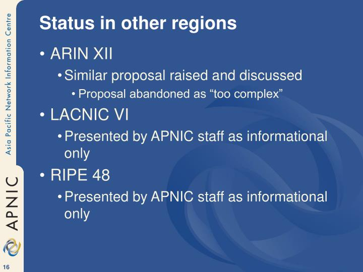 Status in other regions