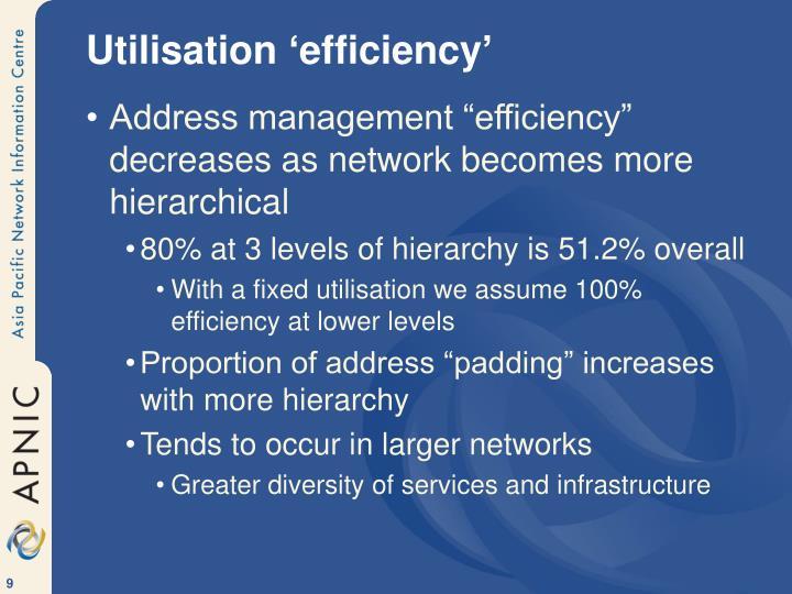 Utilisation 'efficiency'