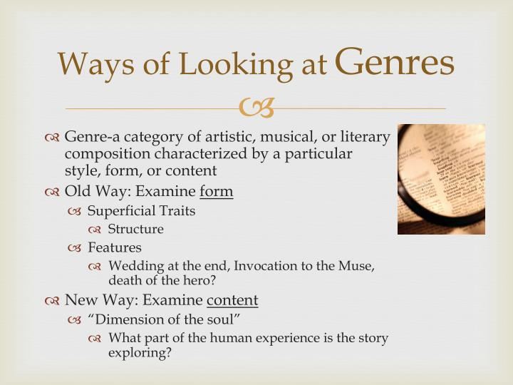 Ways of looking at genres