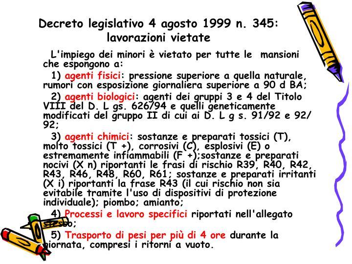 Decreto legislativo 4 agosto 1999 n. 345: