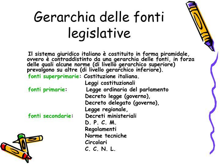 Gerarchia delle fonti legislative1