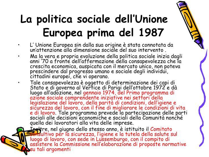 La politica sociale dell'Unione Europea prima del 1987