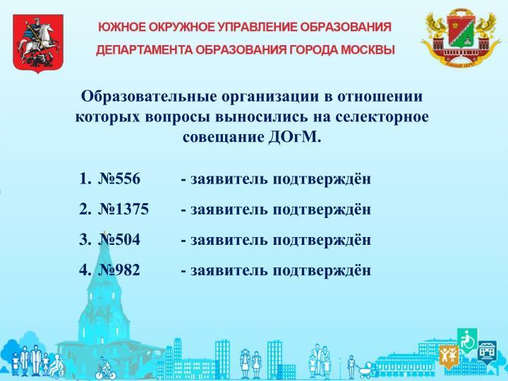 Образовательные организации в отношении которых вопросы выносились на селекторное совещание ДОгМ.