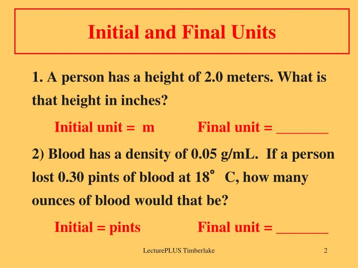 Initial and final units