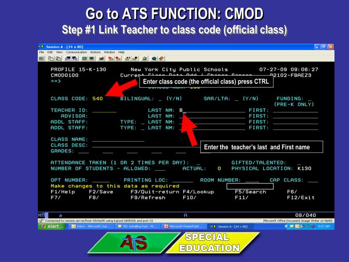 Go to ATS FUNCTION: CMOD