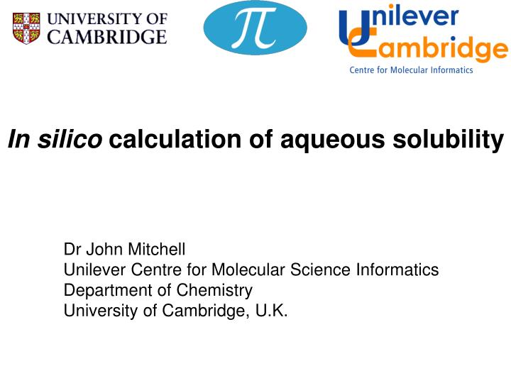 in silico calculation of aqueous solubility n.