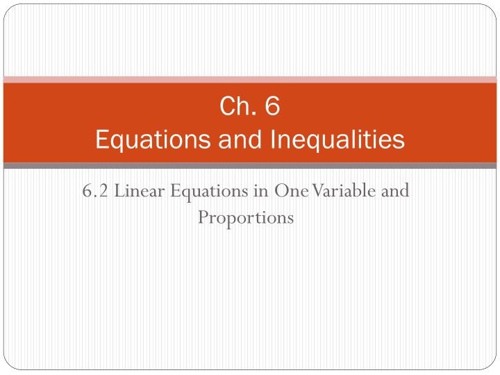 ch 6 equations and inequalities n.