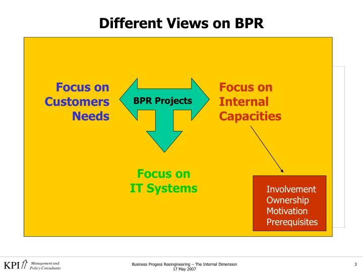 Different views on bpr