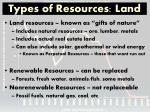 types of resources land