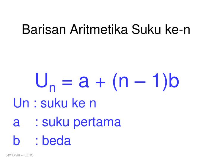 Barisan aritmetika suku ke n