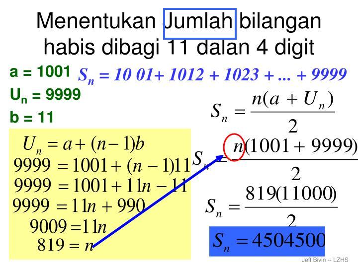 Menentukan Jumlah bilangan habis dibagi