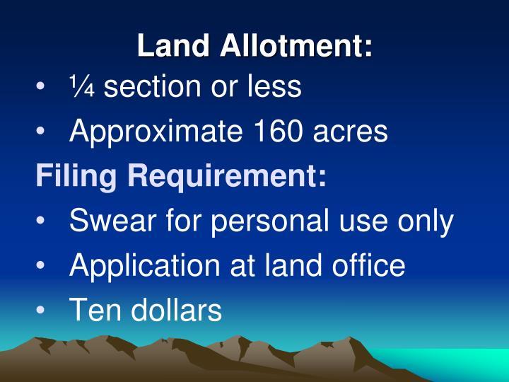 Land Allotment: