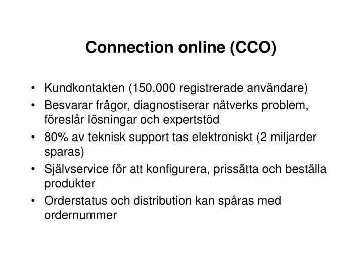 Connection online (CCO)