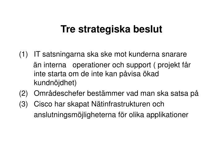 Tre strategiska beslut