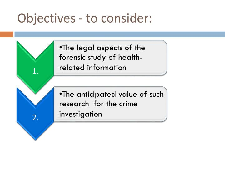 Objectives - to consider: