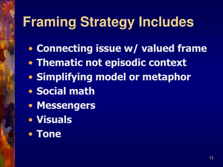 Framing Strategy Includes
