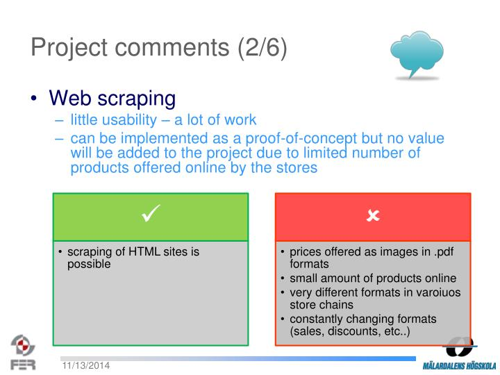 Project comments (