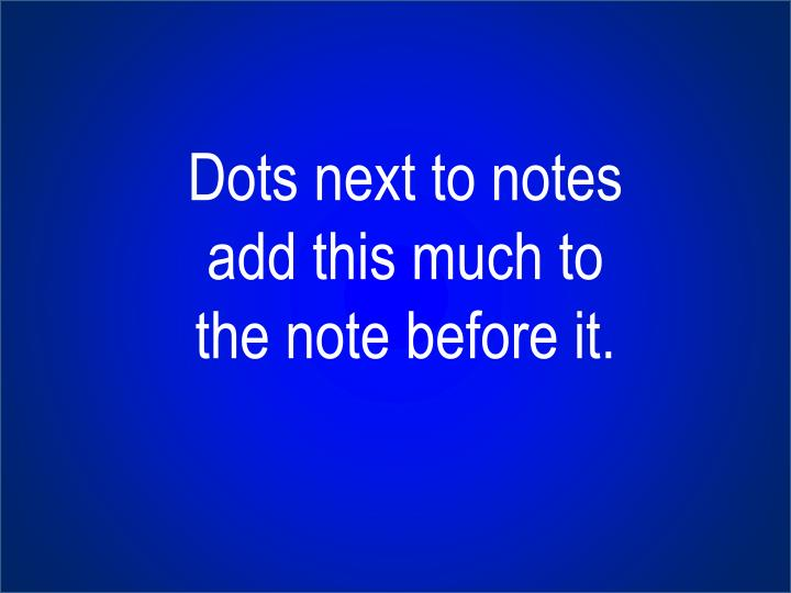 Dots next to notes add this much to the note before it.