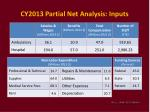cy2013 partial net analysis inputs