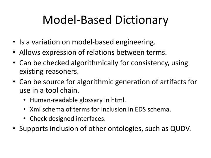 Model based dictionary