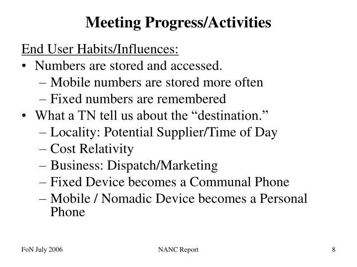 Meeting Progress/Activities