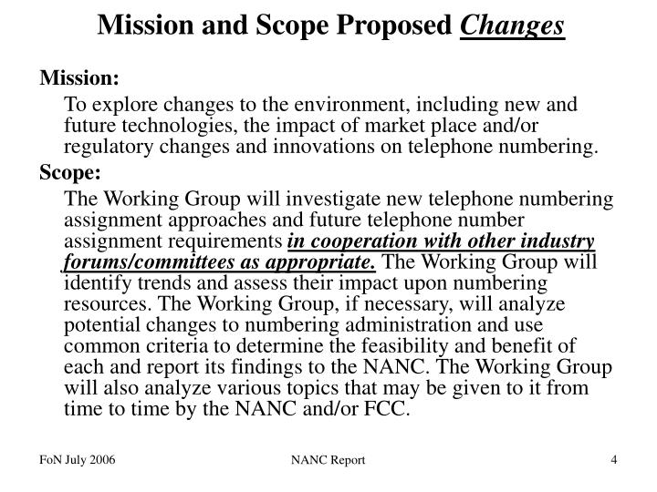 Mission and Scope Proposed