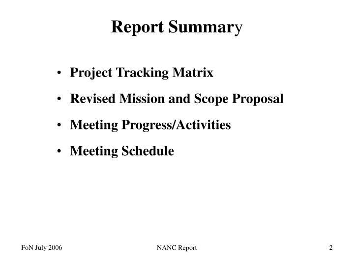 Report summar y