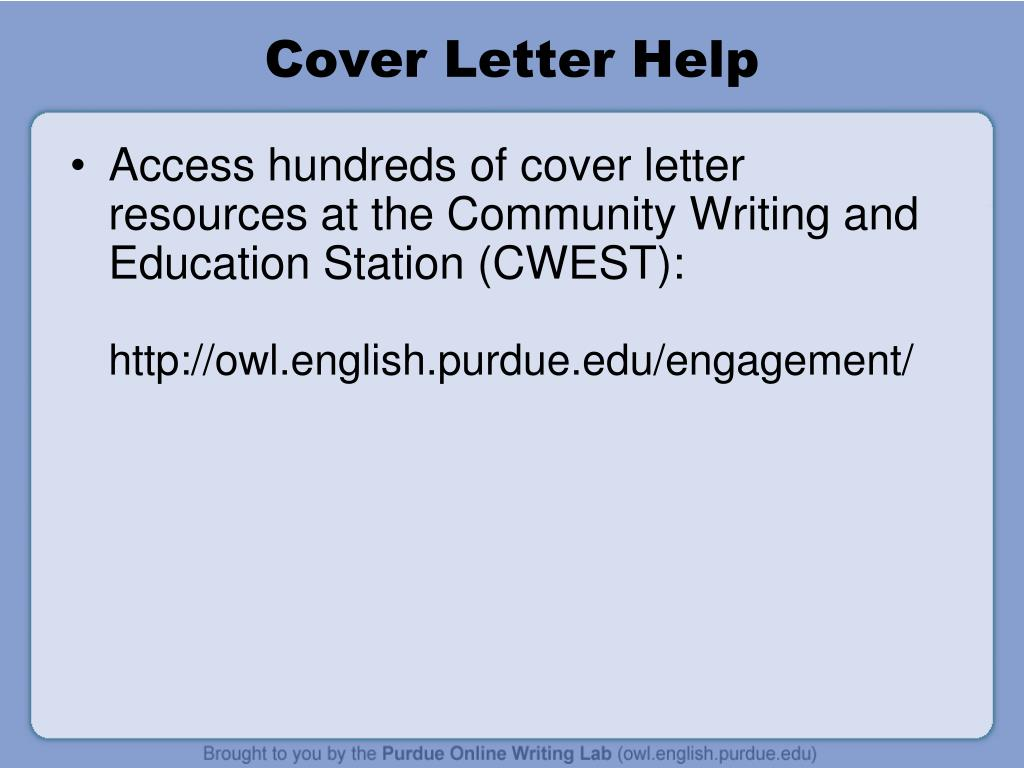 PPT - Cover Letter Workshop PowerPoint Presentation - ID:6563632
