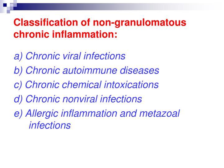 Classification of non-granulomatous chronic inflammation: