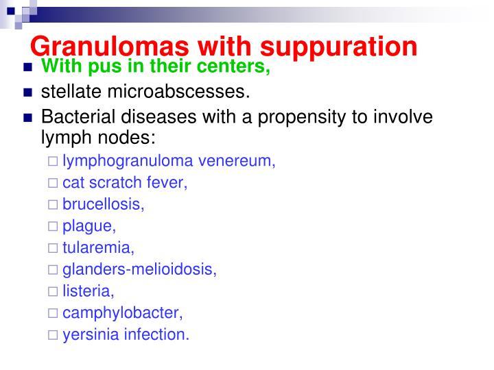 Granulomas with suppuration