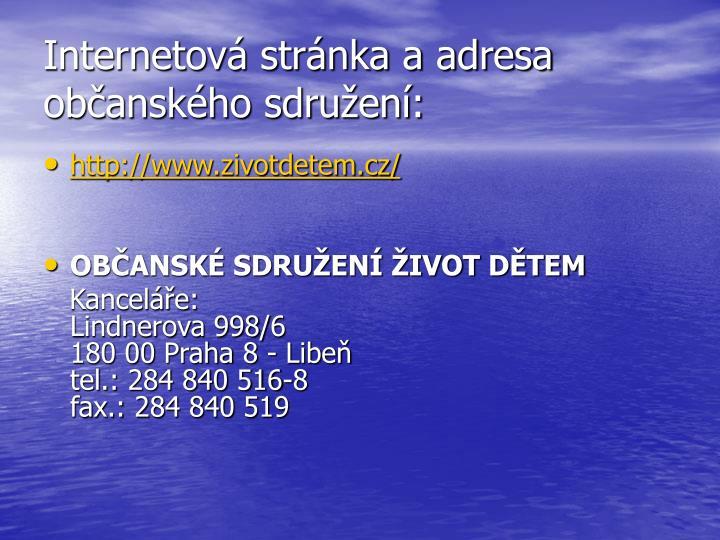 Internetová stránka a adresa občanského sdružení: